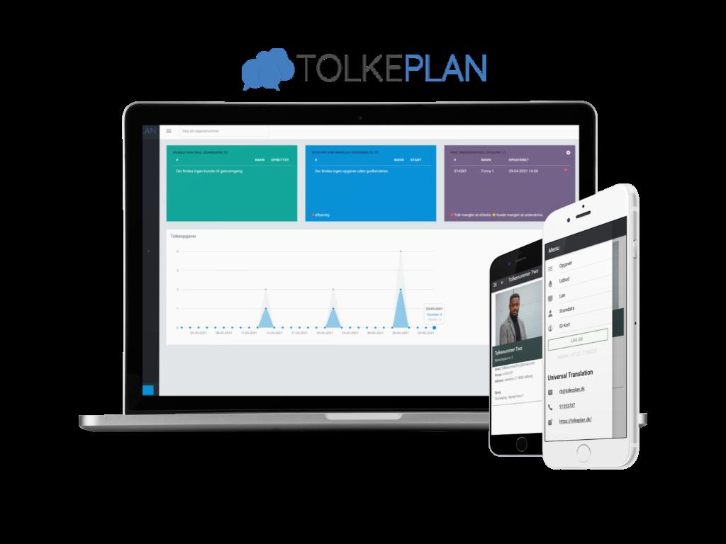Viser Oversigt i TolkePlan samt Tolke App med billede